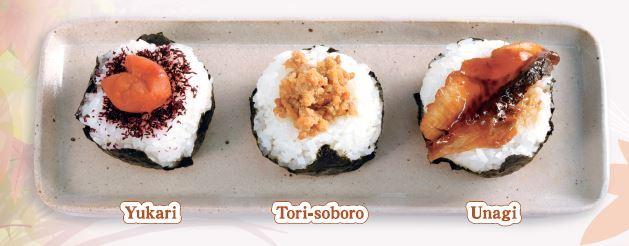 onigiri-yukari/tori-soboro/unagi