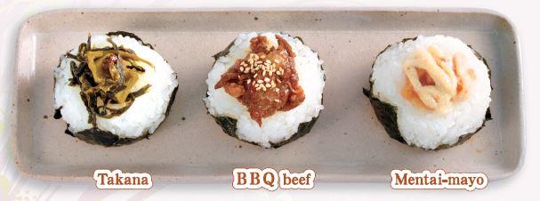 onigiri-takana/bbq-beef/mentai-mayo
